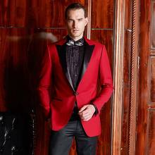Latest Pant Coat Design Men Wedding Suits Pictures New 70%Wool Satin Lapel Red Tuxedo Suit