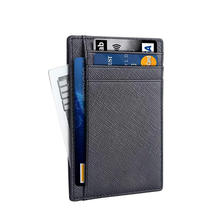 2020 Amazon Best Seller Corporate Business Gifts Genuine Leather Pocket Men ID Rfid Blocking Slim Card Holder Thin Wallet