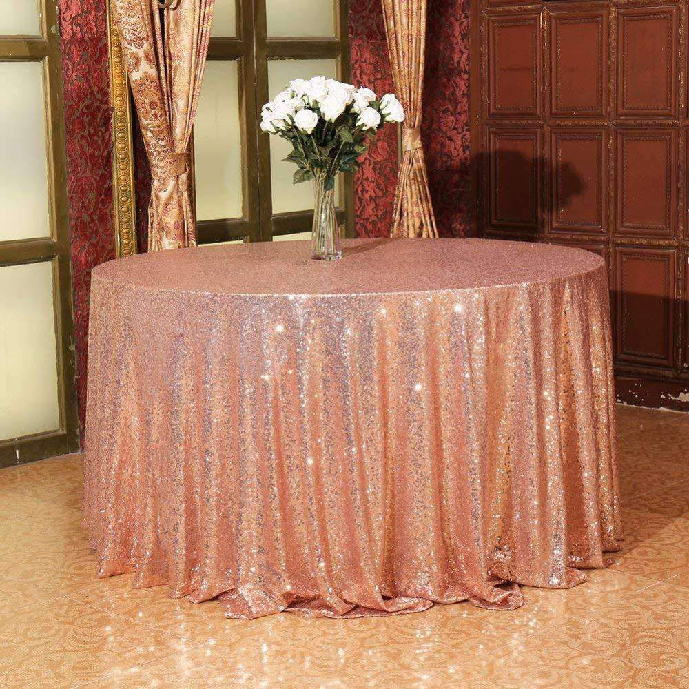 "One piece design Sequin Tablecloth, table cloth plastic cover , Sequin Table Linen (96"" Round)"
