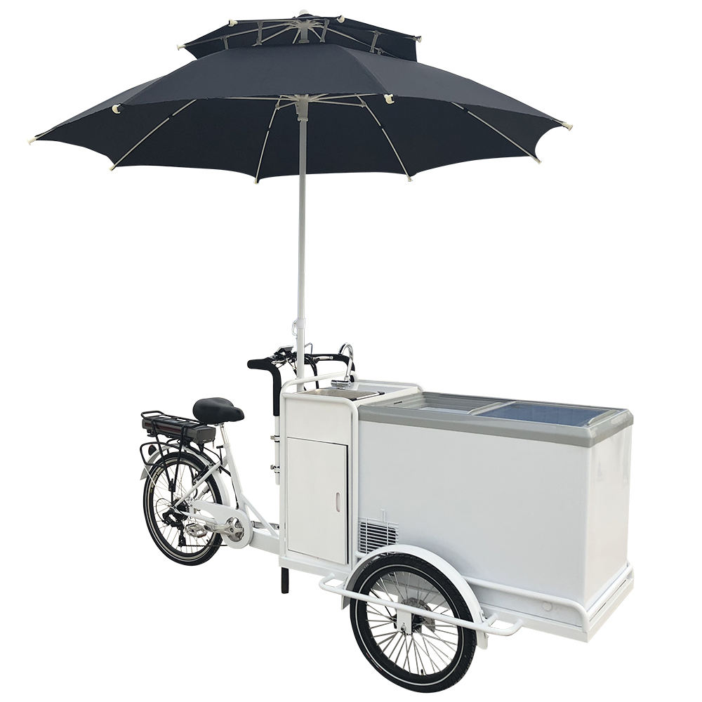 250W Motor with Pedal Assist Commercial Cool Cola Selling 3 Wheel Electric Icecream Tricycle