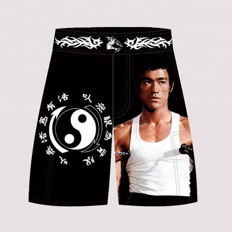 Men's Gray Sports Pants Tiger Muay Thai Boxing Shorts MMA Shorts