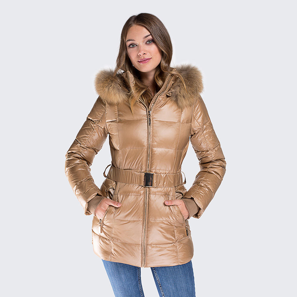 Women Fashion Duck Down Parka Coat with Natural Raccoon Fur and Belt
