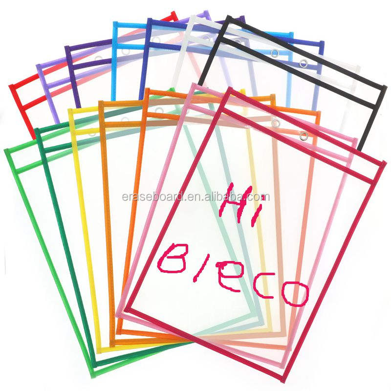 PVC Material with Loop kids educational writing practice dry erase pockets