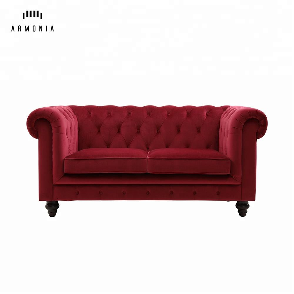 Europese Stijl Rode Fluwelen Chesterfield Sofa Cover Meubilair In China Dongguan