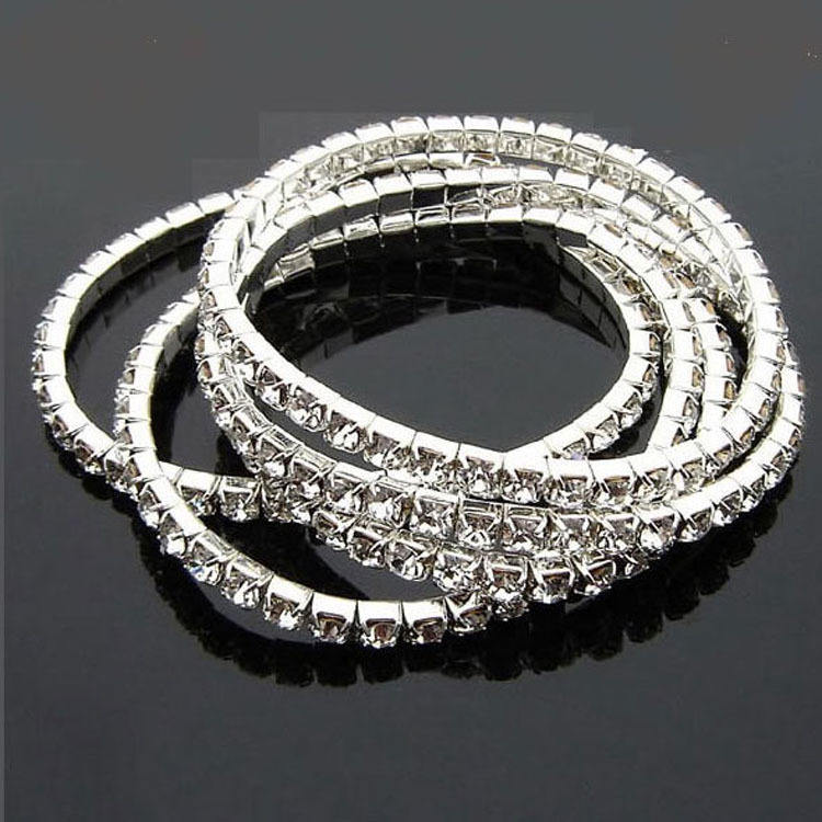 Latest Design Luxury Jewelry Trendy Full Crystal Elastic Bracelet Silver Color Metal Chain Cubic Zirconia Bracelets For Ladies
