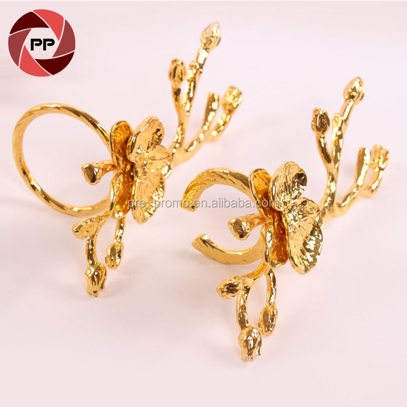 Stock gold/silver metal sika deer napkin ring for wedding table decoration