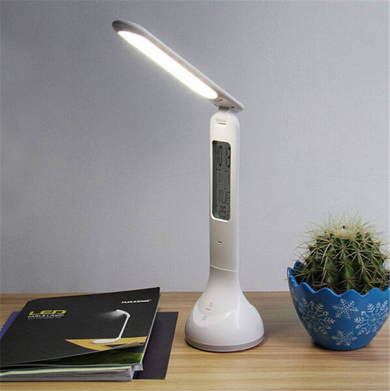 Office reading a table lamp led with calendar and clock