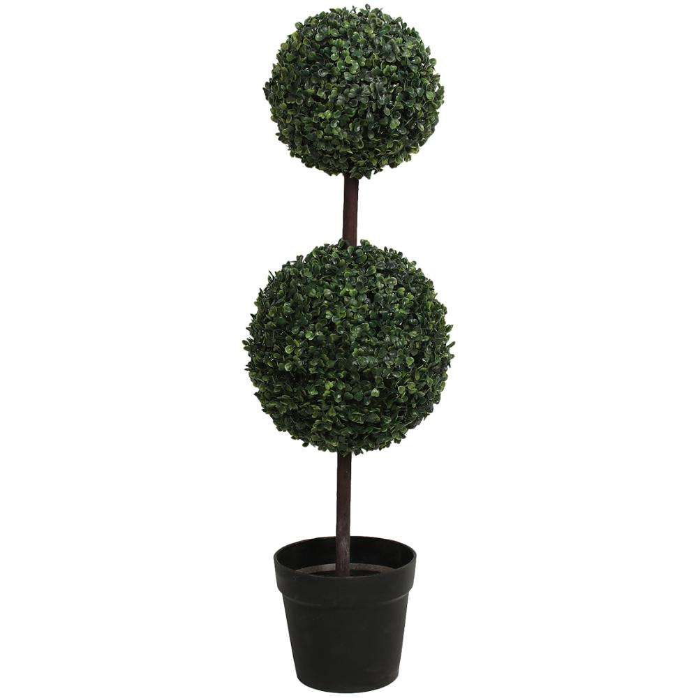 Wholesale plastic two ball bonsai artificial boxwood grass topiary ball tree for home decoration