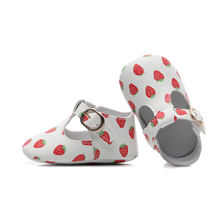T-bar Newborn Pu Leather Moccasins Baby Shoes Cute Strawberry Pattern Anti-slip Infant Girls Shoes Princess Prewalkers