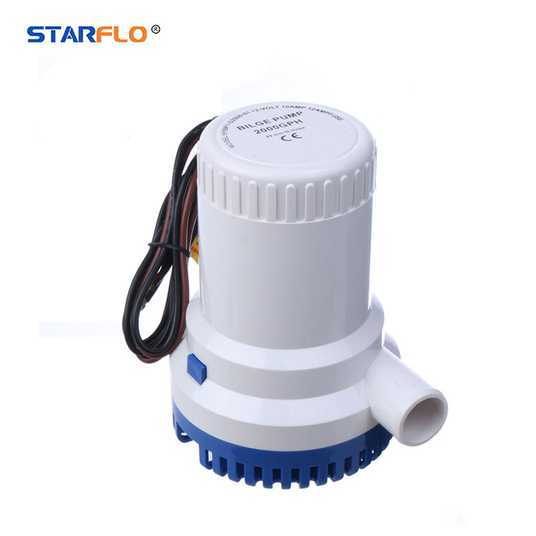 STARFLO 2000GPH portable electric manual bilge pump solar powered 24 v dc 12 volt submersible water pump