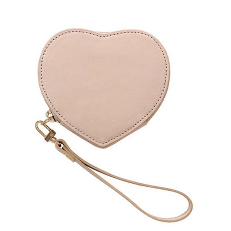 pastel colors genuine smooth leather heart coin purse with wristlet for women
