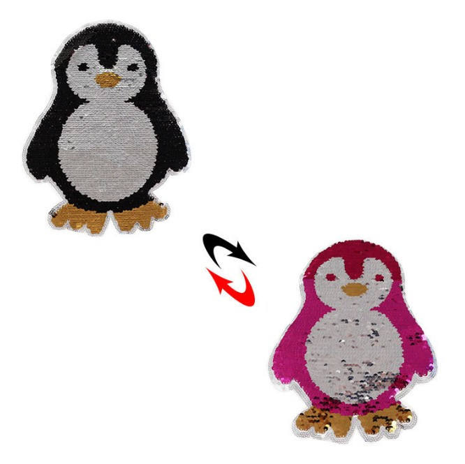 Cute penguin Reversible Change color Sequins Sew On Patches for clothes DIY Patch Applique Bag Clothing Coat Sweater Crafts P398