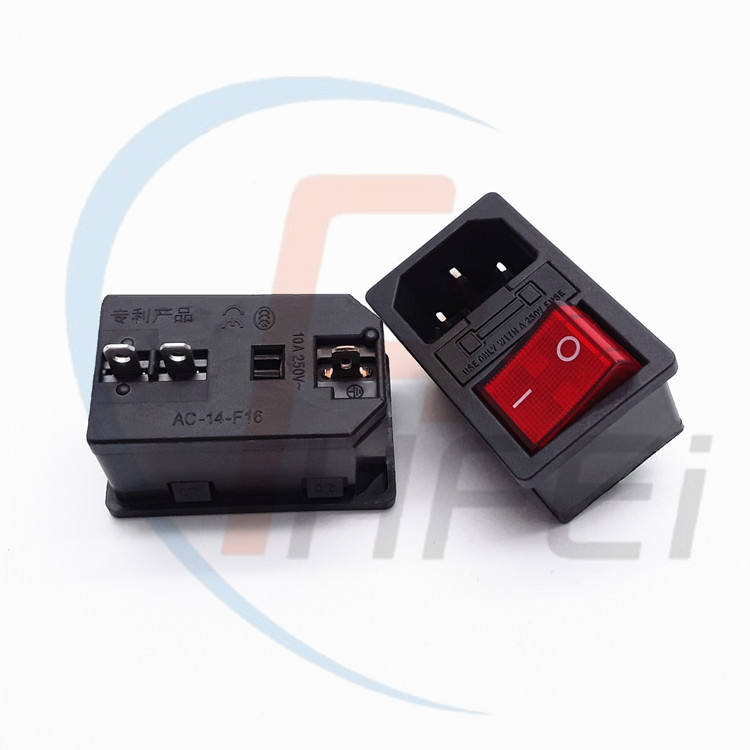 C13 C14 male socket panel ac dc socket with fuse and rocker switch female ac power connector
