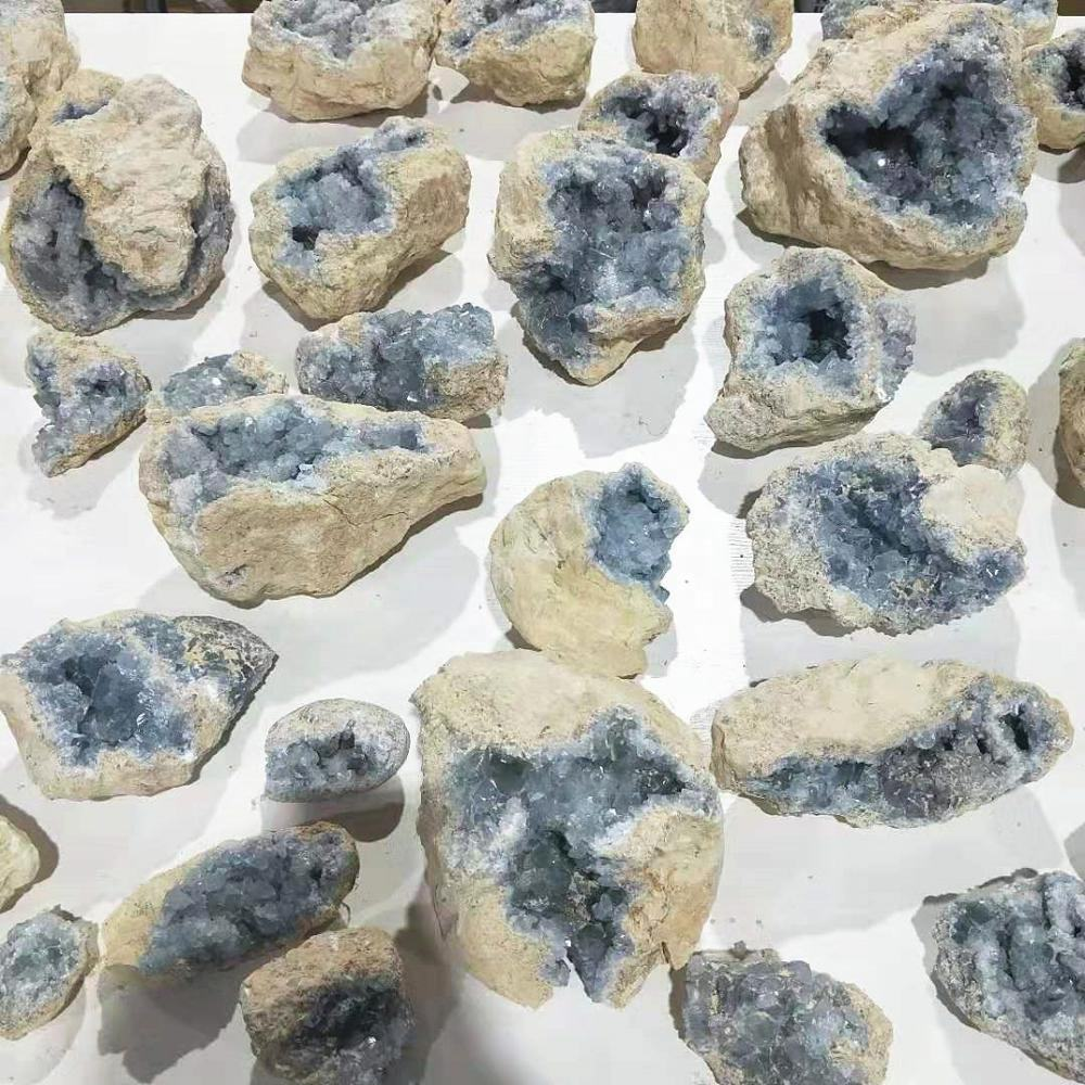 Wholesale natural Crystal healing stone blue celestite crystal geode cluster for decoration