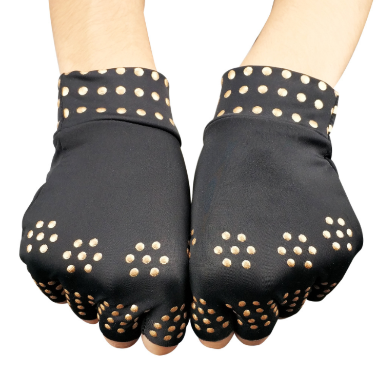 Fingerless therapy compression magnetic work gloves