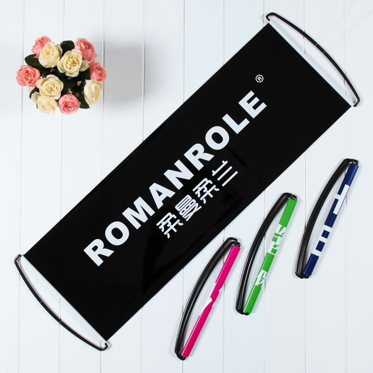 Promotional Advertising Hand Scrolling Banner Hand Held Retractable Fan Banner