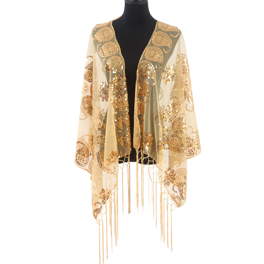 Wholesale luxury sequin lace embroidered long scarf