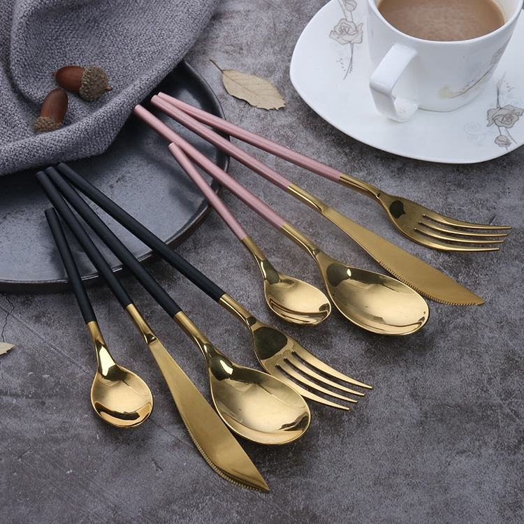 Mirror Polish Set Gold Flatware Stainless Steel Modern Stylish Fork Spoon Knife Custom Cutlery Set