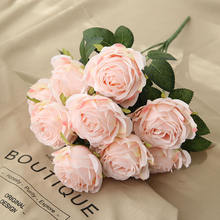 High quality 10 heads rose bouquet artificial flower silk rose wedding bouquet