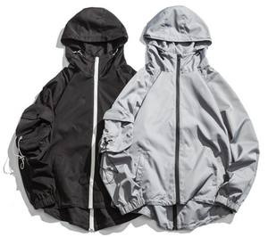 Zip Up แฟชั่นผู้ชาย Streetwear, Anorak Pocket Hooded Windbreaker