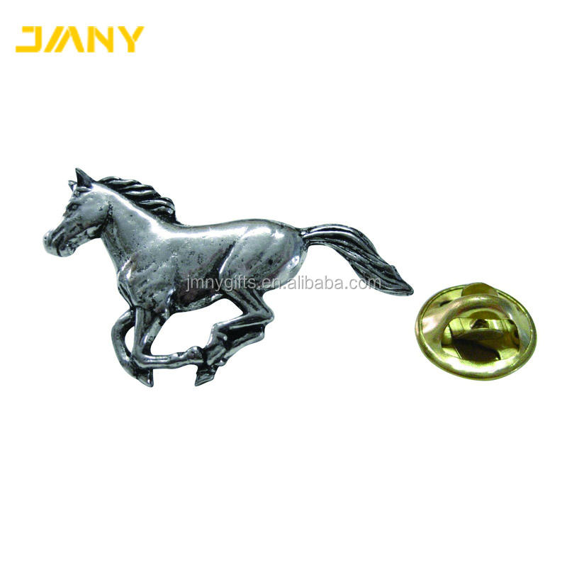 Customized Antique Silver Plated Metal Horse Animal Lapel Pin