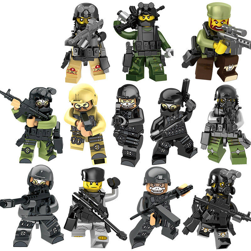 12pcs/set SWAT Mini Toy Military Building Blocks with weapon Special Forces Police Toy Set