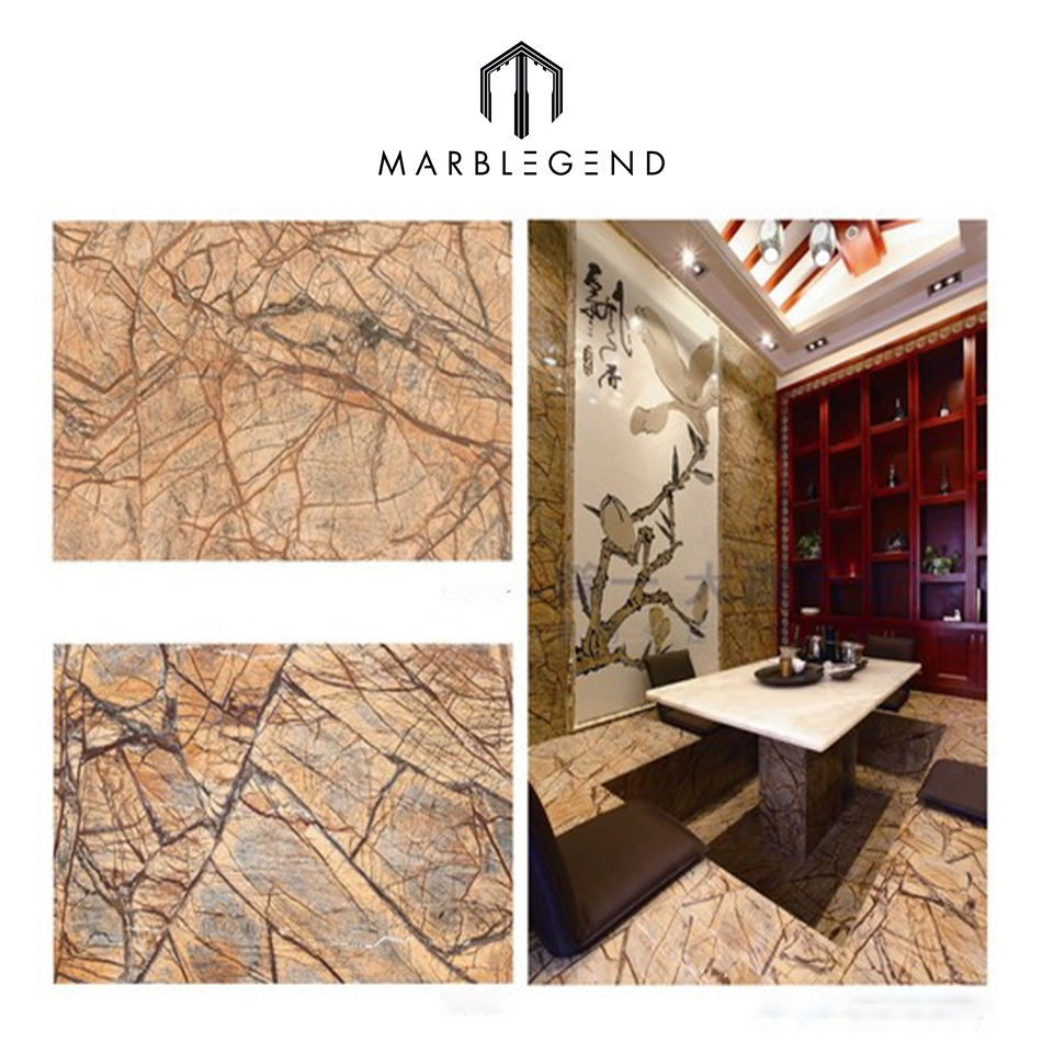 90 degree polished tropical rain forest marble flooring pattern for shopping mall