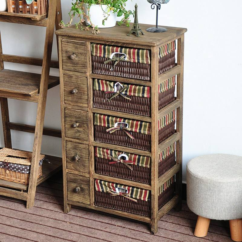Antique Wood Cabinet with 5 Drawers for Home Furniture Storage Rural receiving ark
