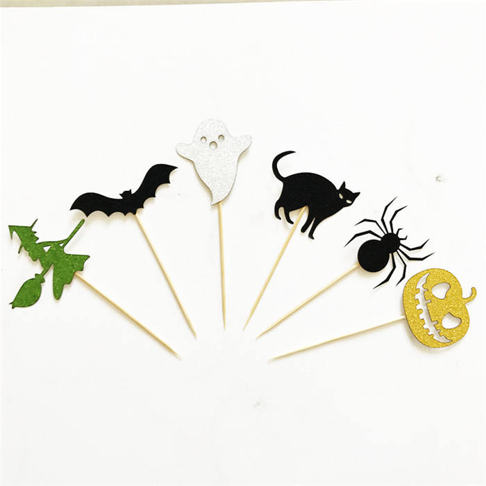 6 Pieces Toppers Halloween Cake Inserted Card Happy Halloween Party Supplies