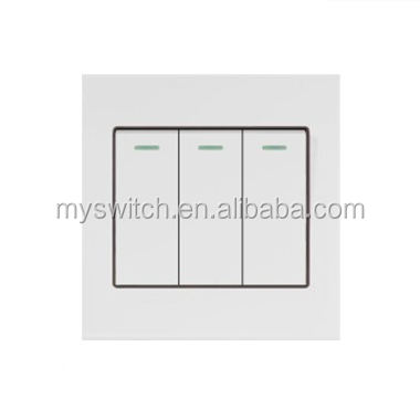Modern PC White Panel Decorative wall switch, 3 gang 1 way electric light switch