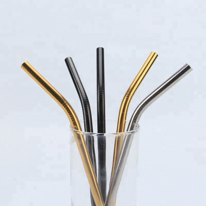 Crazy selling Eco Friendly Reusable Metal Drinking Straws Straight and nylon cleaning brush