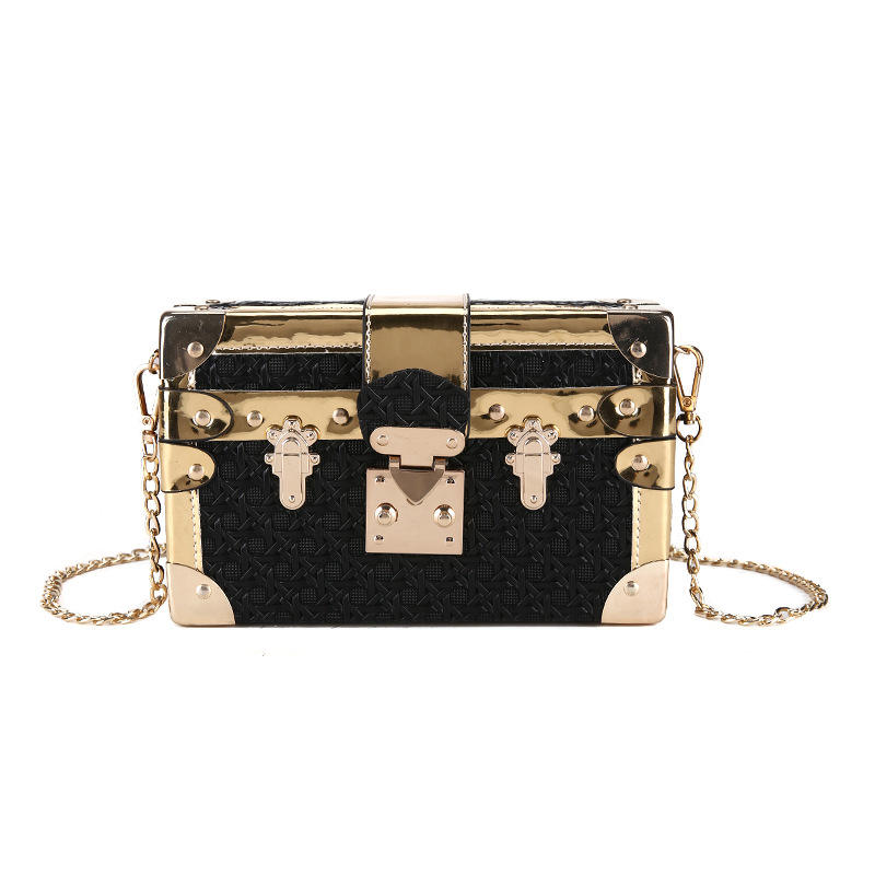 New Creative Mini Square Elegant Evening Clutch Bag Metal Shoulder Bag