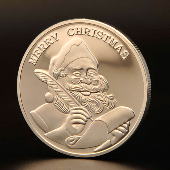 custom metal printed Merry Christmas Happy Holidays collectible santa coins