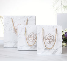 Elegant marble gift paper bag luxury wedding party boutique paper bag with different handle types