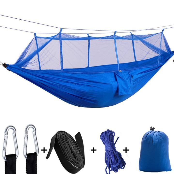Unionpromo custom outdoor nylon camping hammock with mosquito net