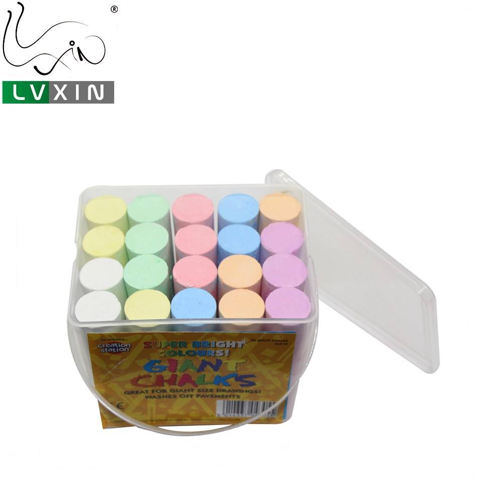 Colored 20 Pcs Washable Outdoor Jumbo Sidewalk Chalk