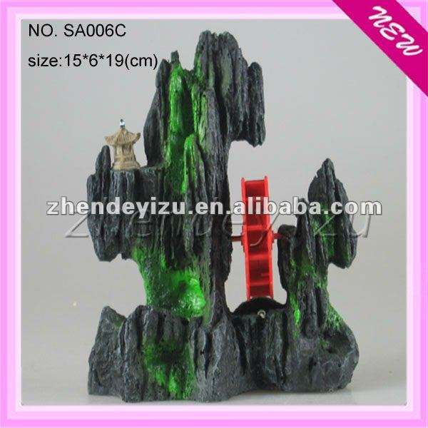 Asian fresh water Aquarium resin Decoration of resin mountain with water wheel