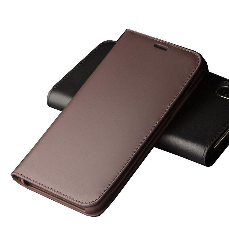Người đàn ông kinh doanh leather wallet trường hợp với chủ thẻ lật bìa genuine leather case cho apple iphone x