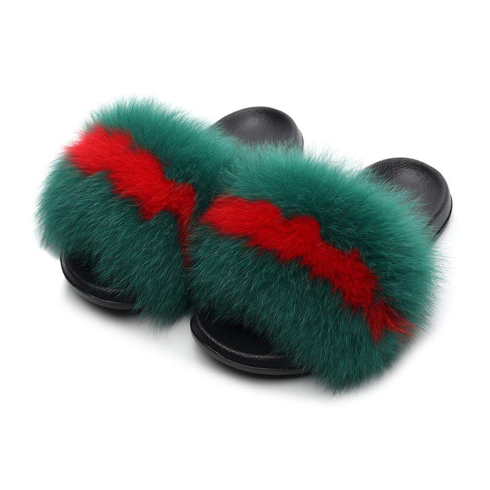 Hot Sale Women Fox Fur Slippers Multicolor Fashion Slides Outdoor Indoor Female Furry Fox Hair Beach Sandals