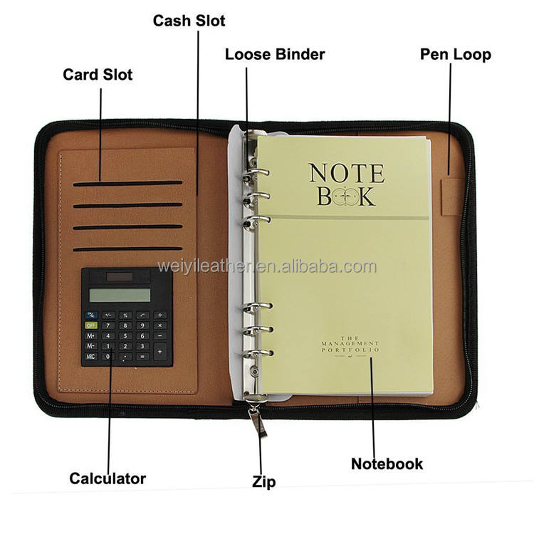PU Leather Cover A5 Zipper Business Notebook Spiral Bound Loose-Leaf Notepad 6 Ring Portfolio Padfolio