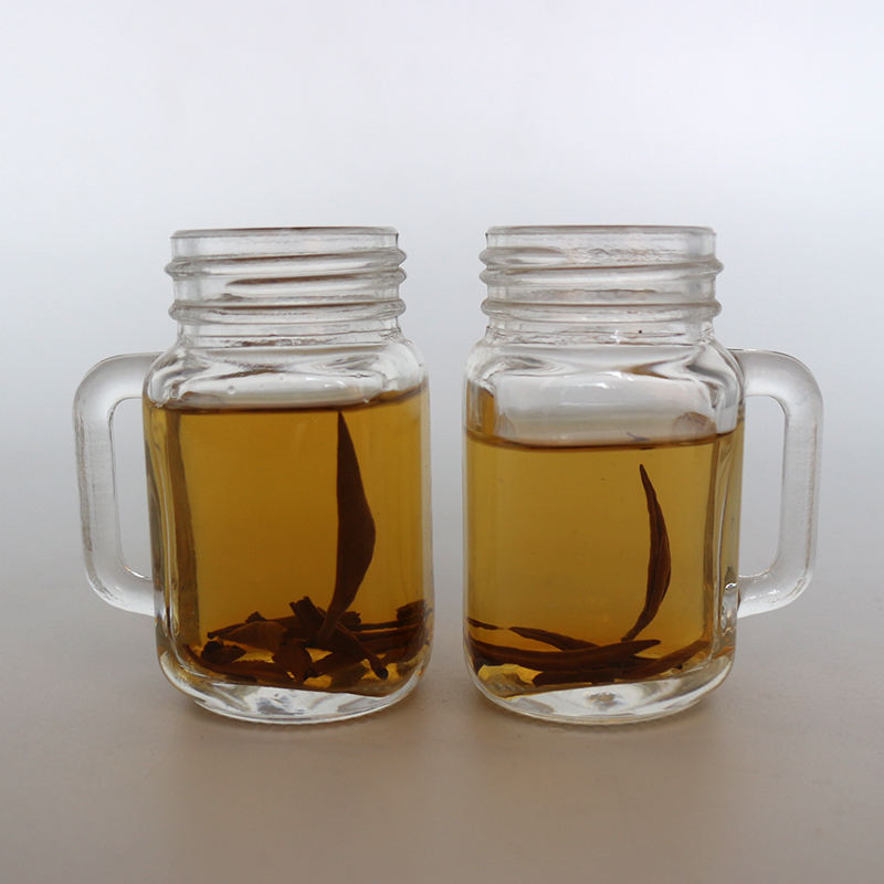 Wholesale High Quality 2OZ Clear Drinking Glass Mason Jars With Handle 60ML Mini Mason Jar
