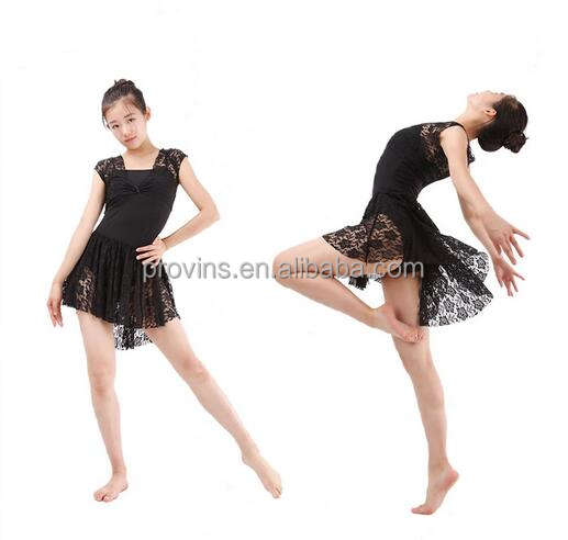 New Girls Women Sexy Lace Sleeve Leotard with Fishtail Lace Dance Skirt Performance Skirt Dress