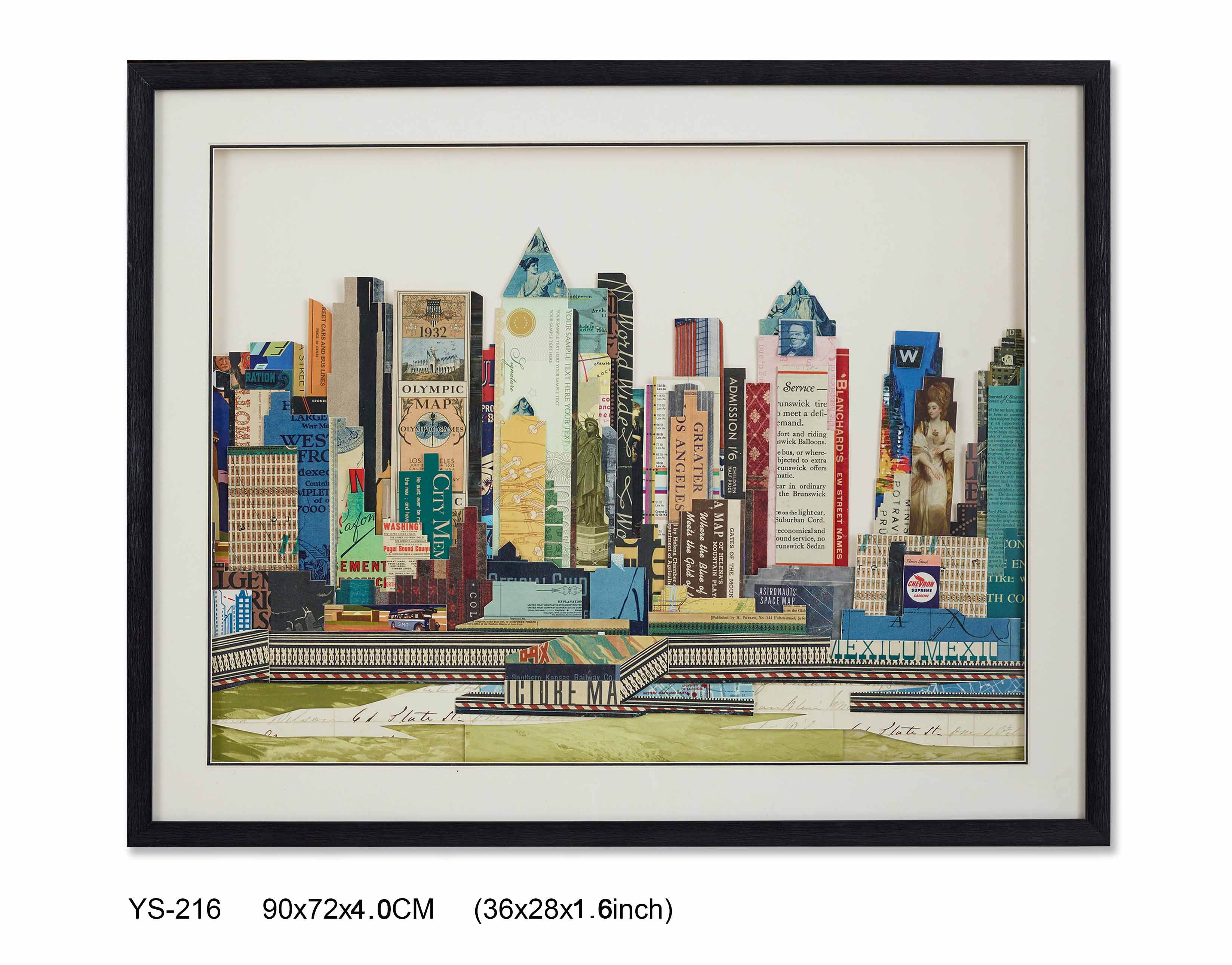 YS-216 wall art wholesale beautiful Paper art New York City 72*90CM collage art wall decor 3d