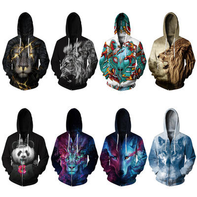 Drop shipping small moq men sublimation zip front hoodie
