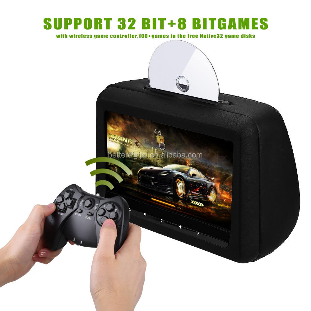 Headrest dvd player with 10.1 inch 1080p HD FM IR USB SD 32bit Wireless Game