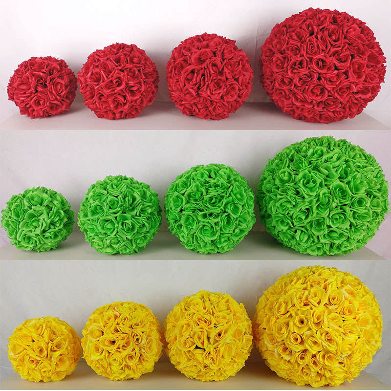 10/15/20/25/30cm diameter size artificial flower fabric rose flower ball for wedding decoration