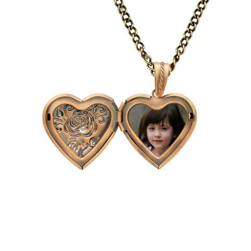 heart shaped copper rose gold floating locket