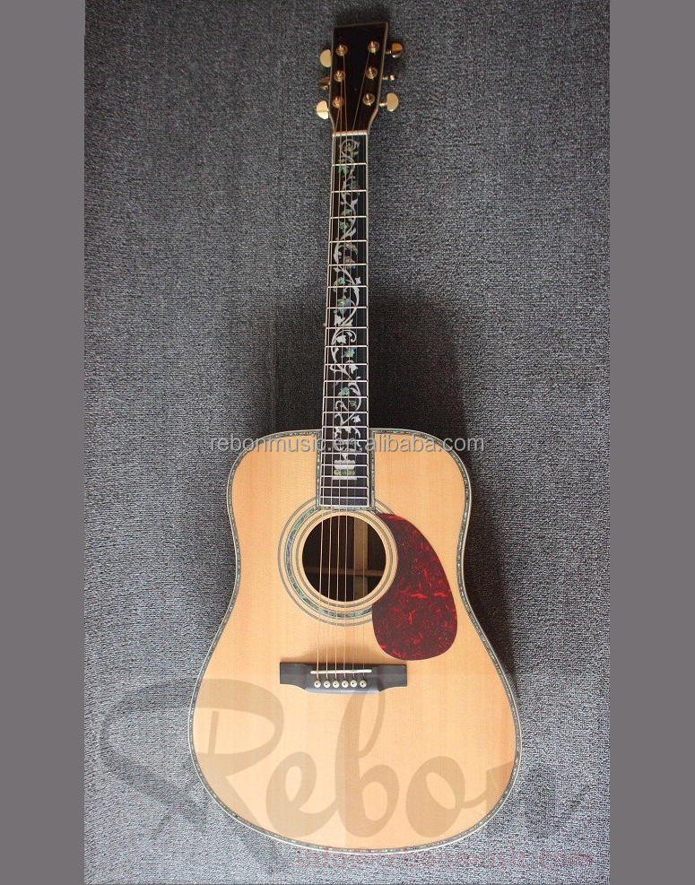 Weifang Rebon 41 inch All Solid Acoustic electric Guitar with abalone flower inlay