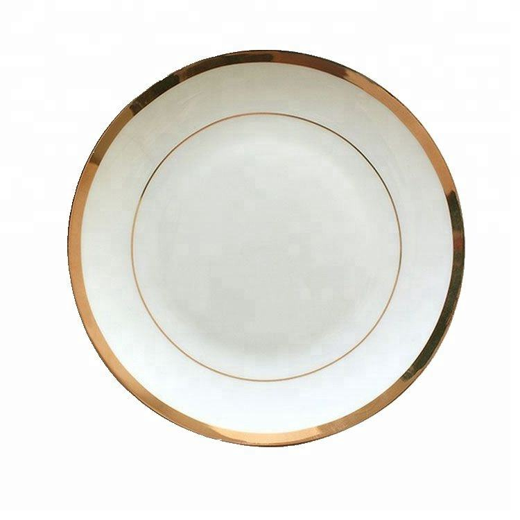 Nordic hand-painted gold porcelain charger plate for steak