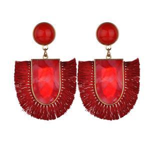 New European and American fashion tassel earrings female personality fashion long u tassel ear resin stud earrings